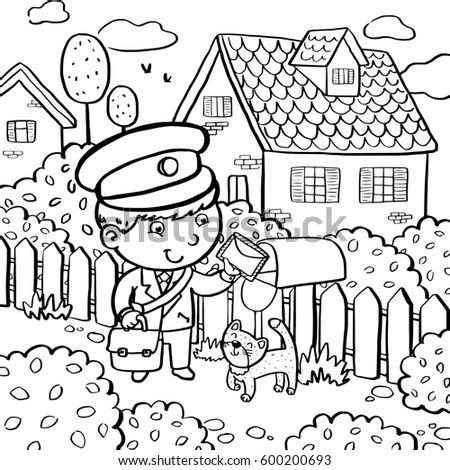 Boy postman near the house with a funny cat. For kid.