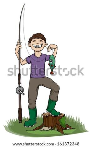Boy proud of his fish, vector illustration - stock vector