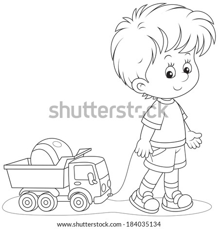 Boy pulling a toy truck with a ball - stock vector