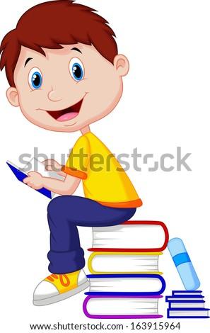 Boy reading book  - stock vector