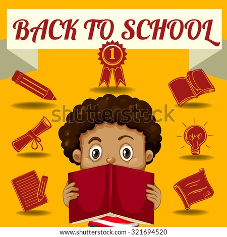 Boy reading book and other school symbols illustration - stock vector