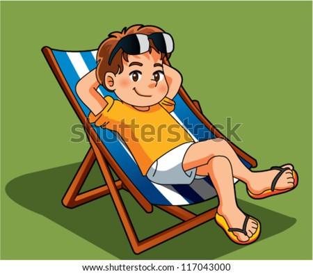 boy relax - stock vector