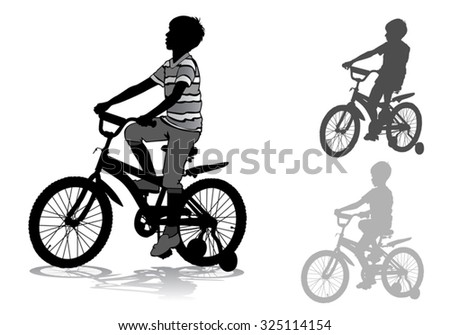 Boy riding a bicycle. Silhouette on a white background.