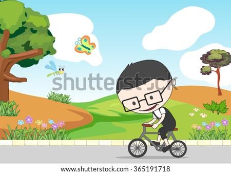 boy riding a bike near the garden - stock vector