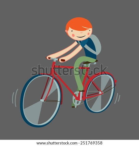 boy riding bicycle. cartoon character isolated. vector illustration. - stock vector