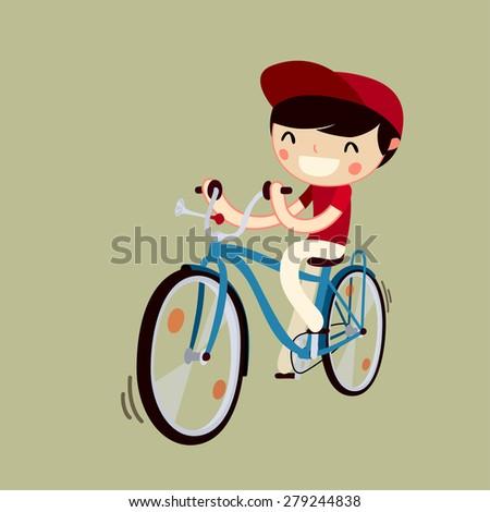 boy riding bicycle. cartoon character. vector illustration - stock vector