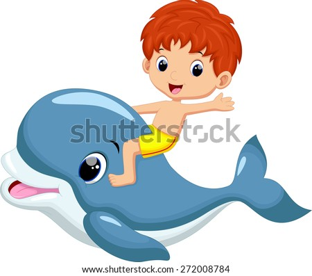 Boy riding dolphin - stock vector