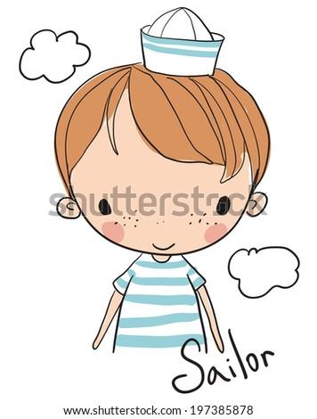 boy sailor - stock vector