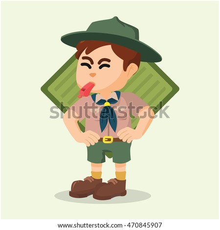 boy scout blowing whistle