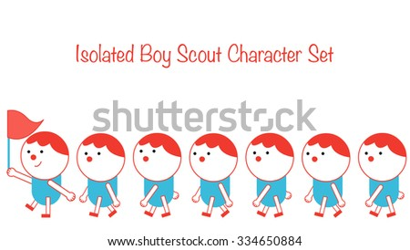 Boy scout troop walking cartoon character set. A group leader holding and waving flag, other kids and children line up in a queue. Isolated objects and body parts, easy to make your own custom poses. - stock vector