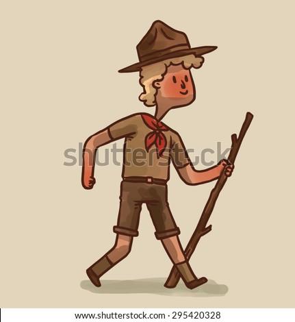 Boy scout, vector - stock vector