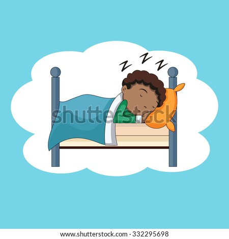 Boy sleeping, bedtime, vector illustration - stock vector