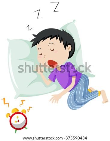 Boy sleeping on pillow illustration - stock vector