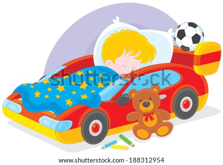 boy sleeps in his bed made as a sport car - stock vector