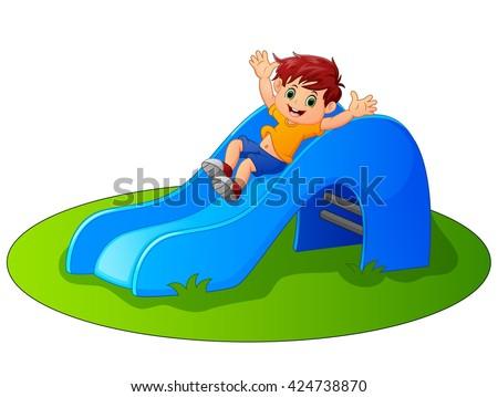 Boy sliding in the Park - stock vector