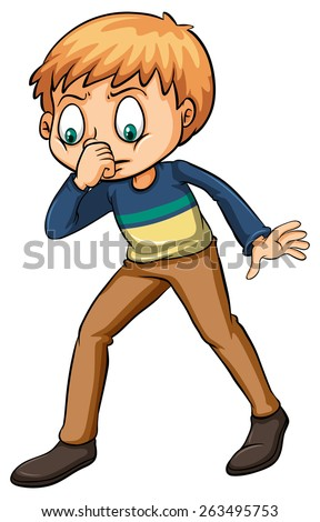 Boy smelling a fishy odor on a white background