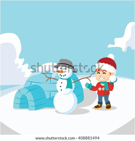 Boy, Snow man and igloo house