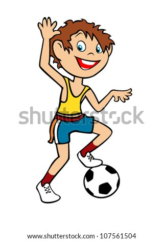 boy soccer player isolated on white background, children illustration