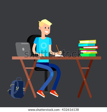 Boy studying in classroom with homework. Flat  - stock vector