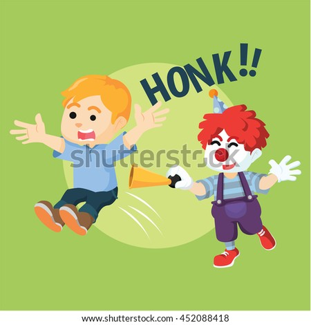 Boy suprised with clown - stock vector
