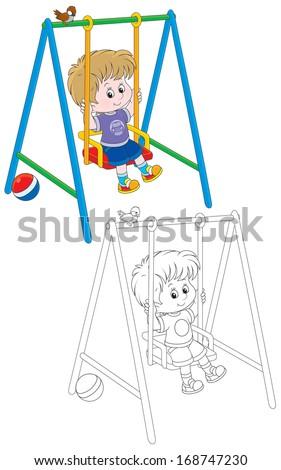 Boy swinging - stock vector