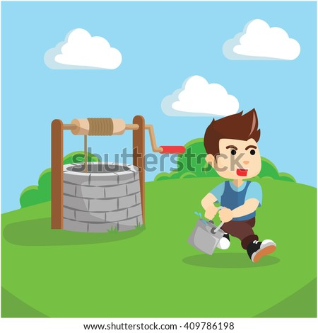 Boy taking water from draw well illustration - stock vector