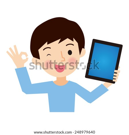 Boy to have a tablet - stock vector