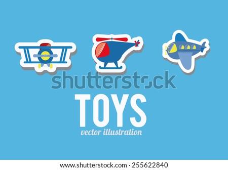 boy, toys, desing over blue background, vector illustration. - stock vector