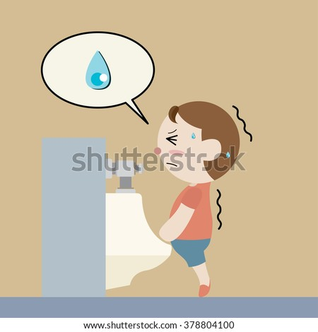 boy try to pee in sanitary ware cartoon vector - stock vector
