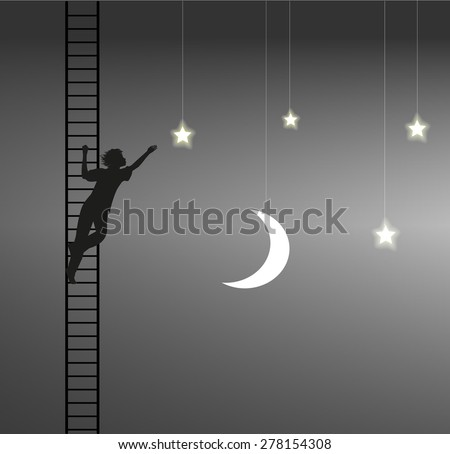 boy trying to take the star, ladder to the heavens, on the heavens, dream, shadows