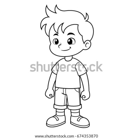 boy vector cartoon black and white outline - Outline Cartoon Pictures