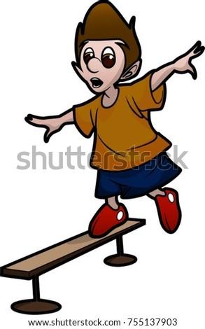 Boy Walking On Balance Beam