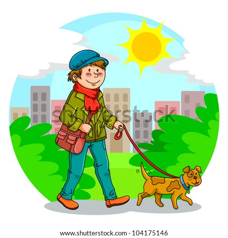 boy walking with his dog in the park (JPEG version available in my gallery)