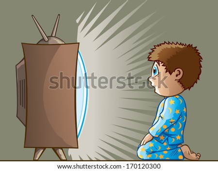 Boy watching TV - stock vector
