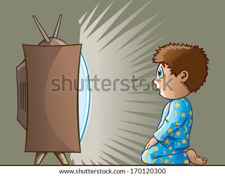 Boy watching TV - stock vector