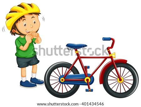 Boy Wearing Helmet Before Riding Bike Stock Vector ...