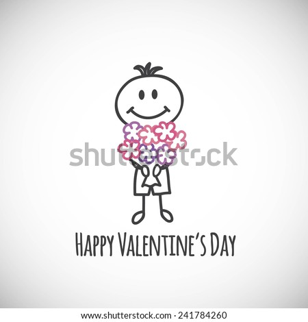 Boy with a bouquet of flowers (cartoon doodle). Happy Valentine's day card - stock vector
