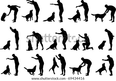 Boy with a dog silhouettes - stock vector