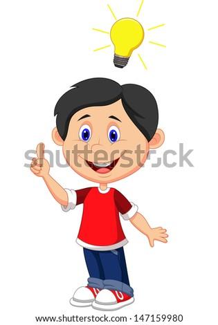 Boy with a good idea - stock vector