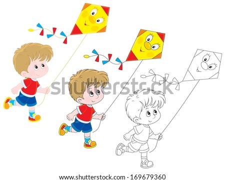 Boy with a kite - stock vector