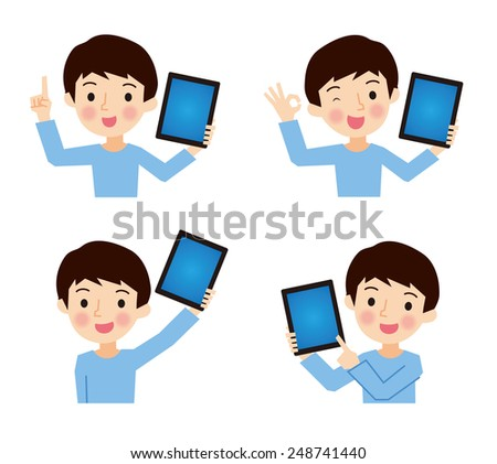 Boy with a tablet - stock vector