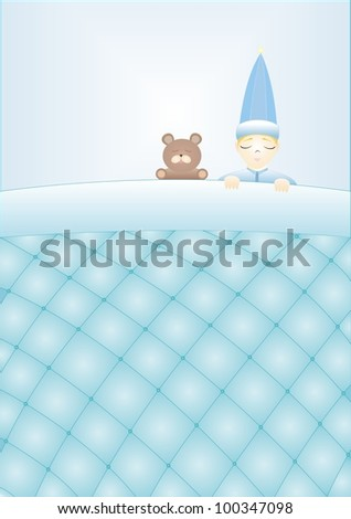 boy with a teddy bear sleeping under a blanket quilted - stock vector