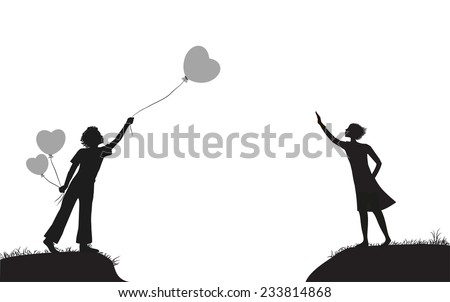 boy with balloons and girl on the two banks greeting each other, date, shadows,  - stock vector