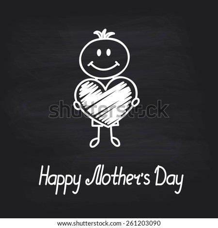 boy with big heart (cartoon doodle). Happy mothers day card - stock vector