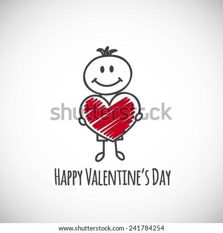 boy with big heart (cartoon doodle). Happy Valentine's day card - stock vector