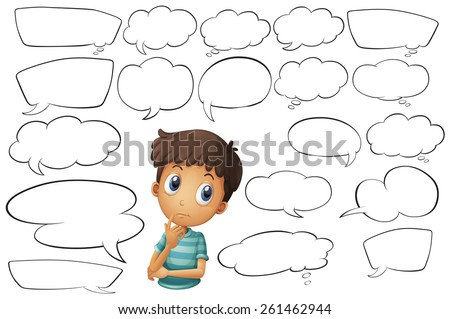 Boy with blank thinking bubbles - stock vector