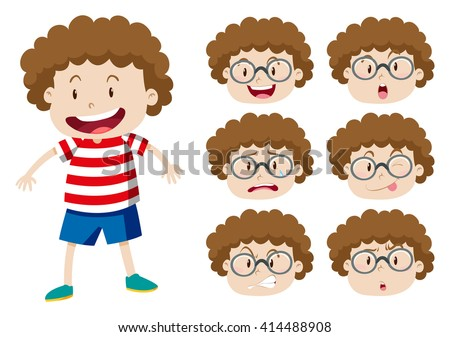 Boy with curly hair and many expressions illustration - stock vector
