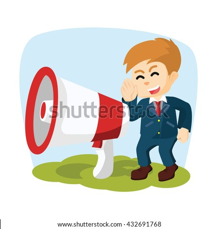 boy with giant megaphone - stock vector