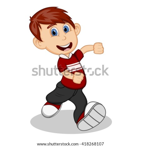 Boy with green blouse and trousers running cartoon vector illustration
