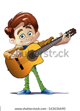 boy with guitar - stock vector